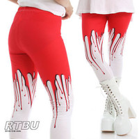 RTBU Bloody Macabre Zombie Red Melting Glue Wax Punk Rock Horror Creepy Legging