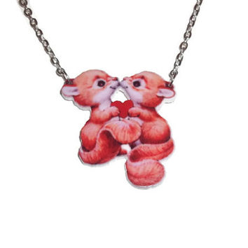 Kawaii Squirrel Necklace, Cute Vintage Animal Pendant, Woodland