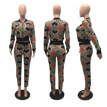 So Jazzy Two Piece Baroque Floral Print Track Suit