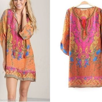 DEPARTURE LOUNGE Moroccan Pink Dress/Tunic/Blouse/Cover-up CHELSEA VERDE S