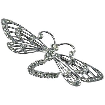 Antique Victorian Silver Marcasite Dragonfly Brooch