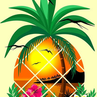 "NEW Design on Shop! ""Pineapple Tropical Sunset, Palm Tree and Flowers"""
