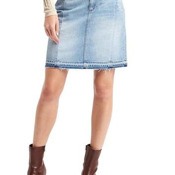 1969 denim let-down hem skirt | Gap