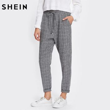 SHEIN Rolled Hem Drawstring Plaid Pants Grey Drawstring Waist Pants Trousers Casual Women Mid Waist Loose Pants