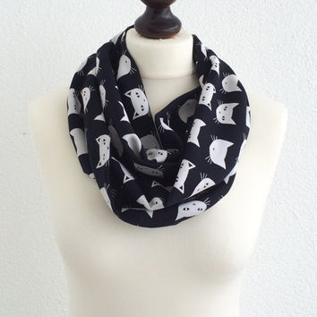 Black White Cat Scarf, Cats Circle Scarf, Animal Infinity Scarf, Unisex Cat Scarf, Cat Lovers Soft Cotton Fashion Scarves, Gift, Designscope