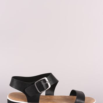 Bamboo Vegan Leather Ankle Strap Low Flatform Sandal