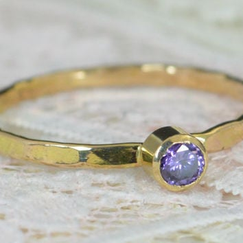 Amethyst Engagement Ring, 14k Gold, Amethyst Wedding Ring Set, Rustic Wedding Ring Set, February Birthstone, Solid 14k Amethyst Ring