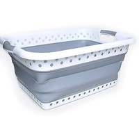 Camco White/Taupe Collapsible Utility/Laundry Basket – Perfect for Homes, Boats, and RVs – Easy Grip Carrying Handles - Foldable for Compact Storage