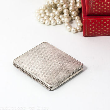 Silver Compact Mirror: Vintage Retro Alpaca Pocket Mirror, Rectangular Compact Powder Case, Makeup Vanity Mirror, Marked Alpacca S