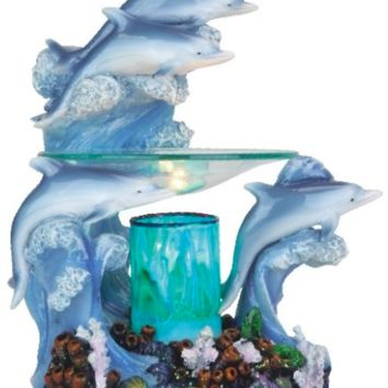 Dolphins Coral Reef Table Fragrance Aroma Lamp Oil Diffuser Wax Tart Candle Warmer Burner Home Decor