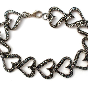 Sterling Silver Heart Bracelet with Marcasites