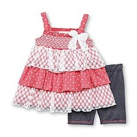 Little Lass Infant & Toddler Girl's Tunic & Shorts - Polka Dot & Lace