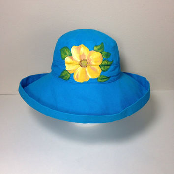 Scala Hat Cotton Big Brim with Drawstring Hand Painted Yellow Rose