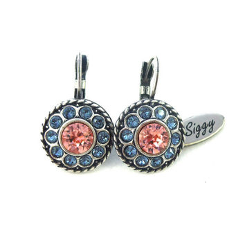 Swarovski crystal Peach and Denim earrings, ornate border, multi-stone earrings, Siggy bling