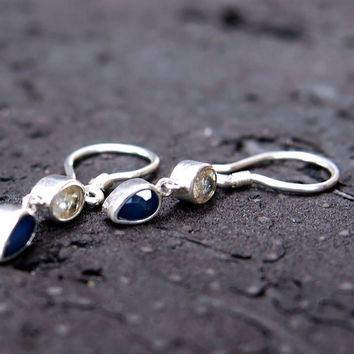 Blue and white sapphire drop earrings - sterling silver