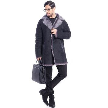 Men's New Style Notched Collar Black Long Leather Shearling Coat