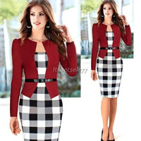 2014 Women Autumn Elegant Belted Tartan Patchwork Faux Tow Pcs Tunic Work Business Casual Party Bodycon Pencil Midi Office Dress