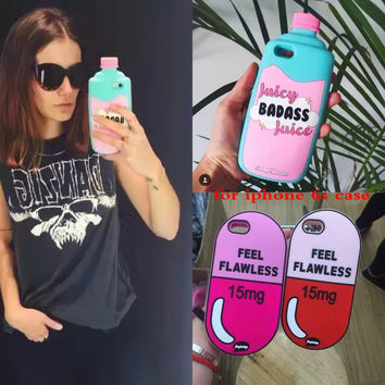 For iPhone 6s plus case Cover 3D Soft Silicone Fruit Juice Chill Pills Bottle phone shell for iphone 6 6s case