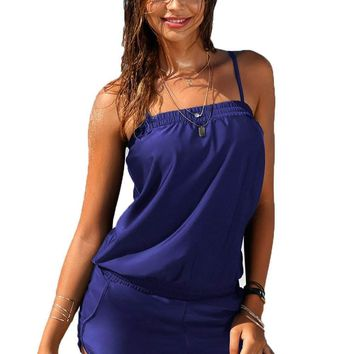 Blue Casual Romper Style One-piece Swimsuit