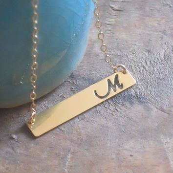 Personalized Bar Necklace, Initial Bar Necklace, Cut Out Letter, Gold Filled Bar Necklace,  Gold Layering Necklace, Personalized Necklace,