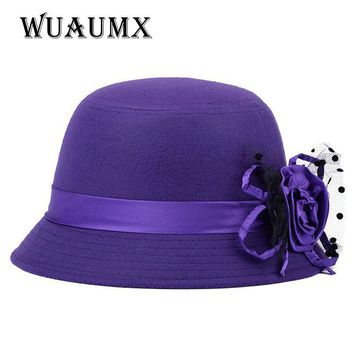 [Wuaumx] Fashion Autumn Winter Fedora hats for Women vintage veil bowler ladies felt top hat for girls homburg female hat caps
