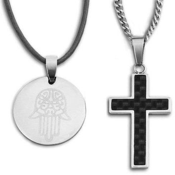 Good Luck Charm Pendant Necklace with Black Carbon Fiber Cross on 24 Inch Chain & Gift Box