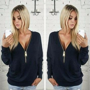 Women Sexy Fashion Batwing Sleeve Blouse Deep V Collar Zipper Sweater Long Sleeved T-shirt Plus Size S-5XL [8323334401]