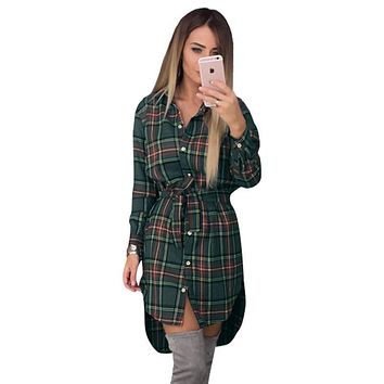Women Plaid Full Sleeved Button Down Long Tunic top