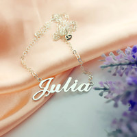 Silver Julia Name Necklace