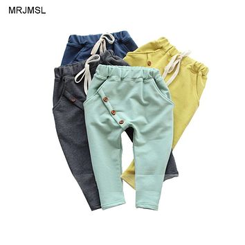 MRJMSL Hot selling size90~130 kids child 2019 clothes children pants for boys trousers girls harem pants solid three buttons