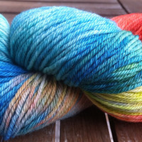Rainbow - Red, Yellow, Blue, Green, Orange, White Hand Dyed Merino DK Weight Yarn 100gr