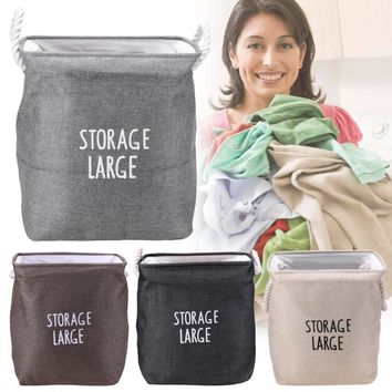Foldable Storage Basket Toy Storage Container Dirty Clothes Laundry Organizer Waterproof Laundry Bag Cotton Rope Handle