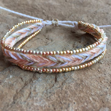 1 string braided bracelet with two strands of permanent finish beads, braided bracelet, stackable bracelet, beaded bracelet - Peach Sorbet