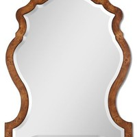 Unique Wall Mirror with Distressed Veneer Finish