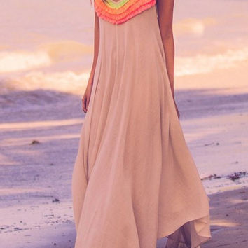 Bohemian Spaghetti Strap Asymmetrical Maxi Dress