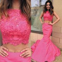 Two Piece Mermaid Hot Pink Prom Dresses,Prom Dress