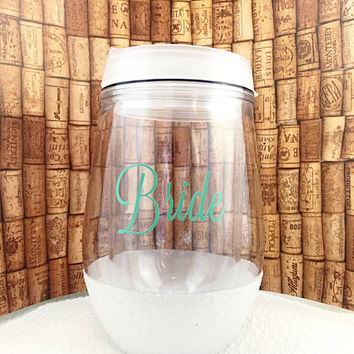 Glitter Wine Glass - Bachelorette Party Favors - Travel Wine Glass - Glitter Dipped - Stemless Wine Glass - Bridal Party Tumblers - Bride