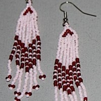 Pink and Red Seed Bead Earrings A25-14