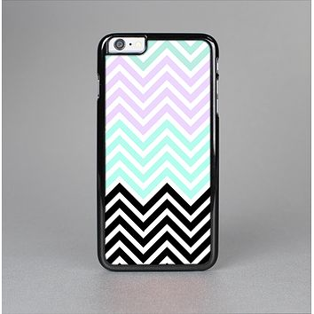 The Light Teal & Purple Sharp Black Chevron Skin-Sert Case for the Apple iPhone 6 Plus