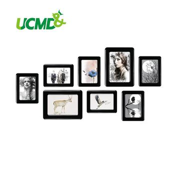 """Magnetic Photo Frame With Adhesive Crystal Surface 6"""" X 4"""" 7"""" X 5"""" For Kids Room Wall Decor Magnet Picture Frame 8 Pieces / Set"""