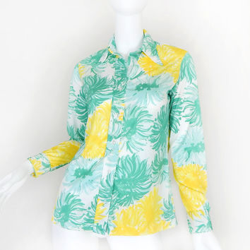 Vintage 70s Colorful Floral Print Vera Neumann Blouse - Green and Yellow Abstract Long Sleeve Women's 70s Shirt - Size Extra Small XS