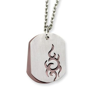 Men's Stainless Steel and Cognac Accent Tribal Dog Tag Necklace
