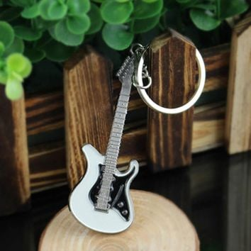 New Guitar Keychain Creative Design Bass Guitar Musical Instrument Keychain Gift Fashion Pendant