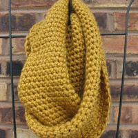 Infinity scarf mustard chunky gold yellow golden rod by Shanionie