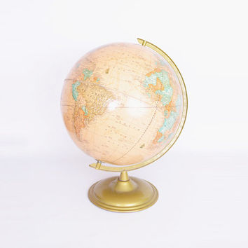 George F Cram's Globe Cram's Imperial World Globe Tan Globe Beige Globe Gold Metal Base Antique Globe World Map Antique Map Home Decor