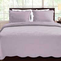 King Size Cotton Quilt Set Floral Stitch Scalloped in Lavender Purple