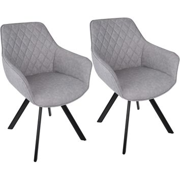 Outlaw Industrial Dining / Accent Chairs, Grey PU (Set of 2)
