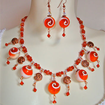 Beaded conk shell necklace in gemstones, copper and swarovski crystal - conk shell beads - mexican fire agate and carnelian
