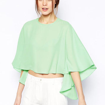 Bat Sleeve Ruffled Chiffon Cropped Top