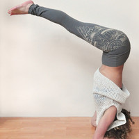 Organic bamboo terry high waisted yoga leggings with unique henna style wing print in grey